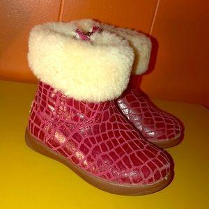 UGG Jorie Croc Red Leather Sheepskin Booties